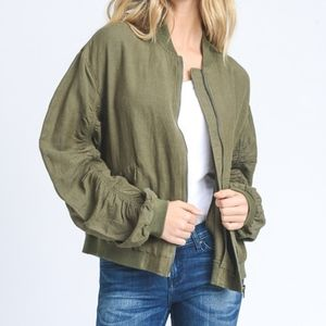 "Jackets & Blazers - PURE ""Olive"" Ruched Linen Bomber Jacket"